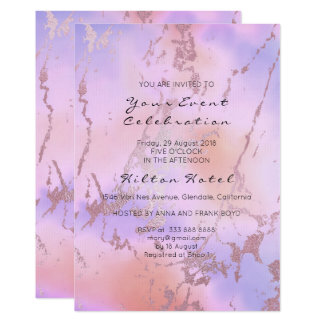 Minimal Marble Pastel Ombre Rose Gold Blue Peach Card