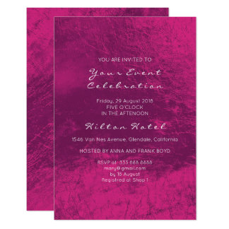 Minimal Metallic Purple Deep Pink Rose Glass Card