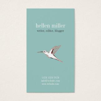 Minimal Mint hummingbird elegant cute visit card
