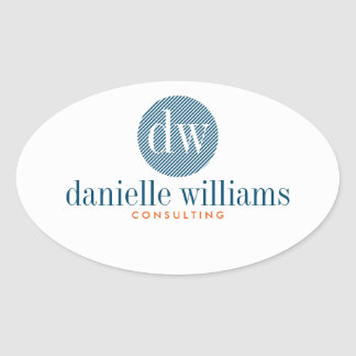 Minimal Modern Blue Circle White Background Oval Sticker