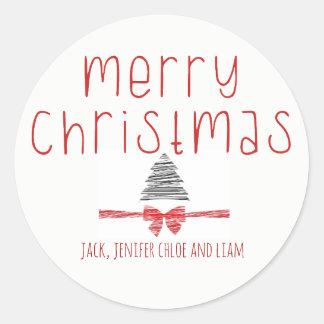 Minimal Modern Boho Chic Personalized Christmas Classic Round Sticker