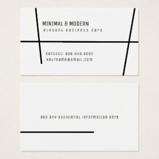 minimal & modern elegant minimalist white business card
