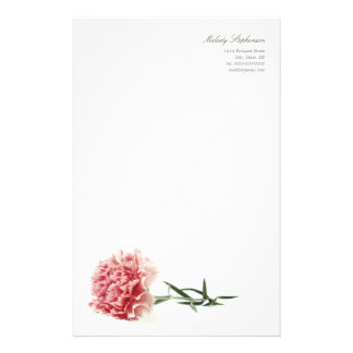 Minimal Modern Pink Carnation Personal Stationery
