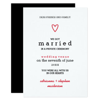 Minimal Modern | Red Heart | Marriage Announcement