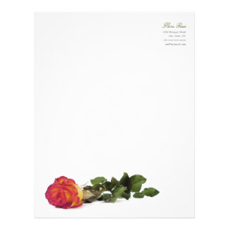 Minimal Modern Red Yellow Rose Personal Letterhead