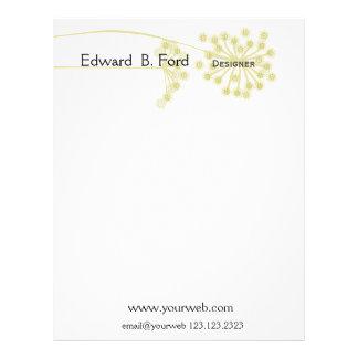 Minimal  Modern Wild Flower Floral Custom Letterhead
