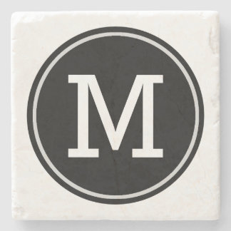 Minimal Monogrammed Initial on Black Circle Stone Coaster