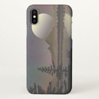 Minimal Moon & Lake Landscape | Digital Vector Art iPhone X Case