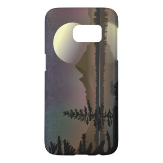 Minimal Moon & Lake Landscape | Digital Vector Art Samsung Galaxy S7 Case