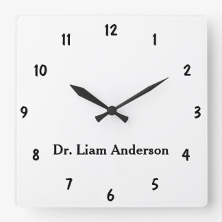 Minimal Name Template Plain Black Numbers Wall Clocks