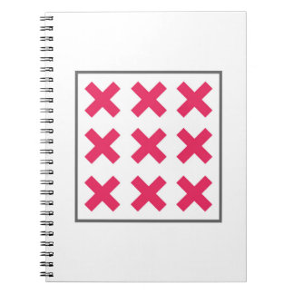 Minimal Neon Pink Cross Square Spiral Notebook