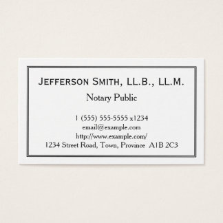 Minimal Notary Public Business Card