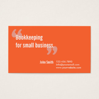 Minimal Orange Bookkeeping Service Business Card