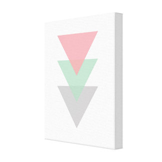 Minimal Pastel Colored Trio Of Triangles Canvas Print