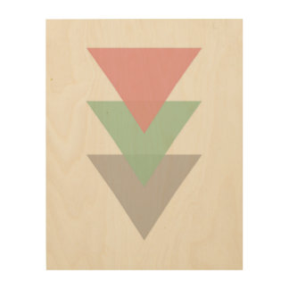 Minimal Pastel Colored Trio Of Triangles Wood Wall Decor