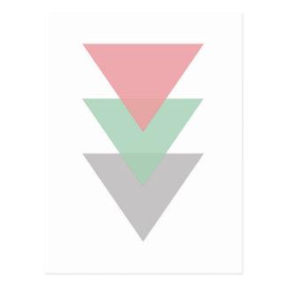 Minimal Pastel Coloured Trio Of Triangles Postcard