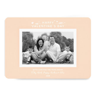 Minimal Peach/Apricot Valentine's Day Family Photo Card