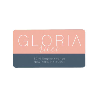 Minimal Peach Midnight Blue Return Address Label