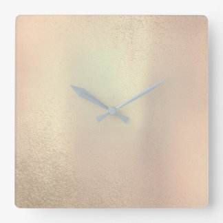 Minimal Pearly Garden Peach Blush Pink Rose Gold Square Wall Clock