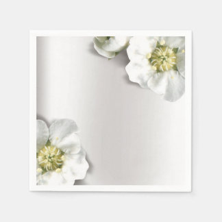Minimal Pearly White Gray Silver Metallic Floral Napkin