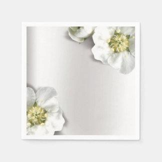 Minimal Pearly White Gray Silver Metallic Floral Paper Napkins