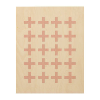 Minimal Pink Geometric Crosses Wood Wall Decor