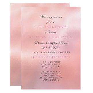 Minimal Pink Rose Glitter Elegant Bridal Princess Card