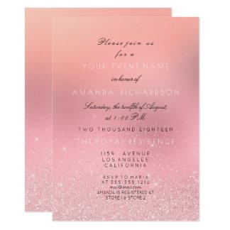 Minimal Pink Rose Glitter Sparkly Bridal Princess Card