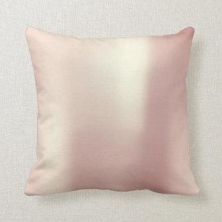 Minimal Pink Rose Gold Blush Powder Pearly Metal Throw Pillow