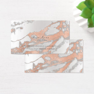Minimal Pink Rose Gold Silver Metallic Marble Gray Business Card