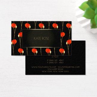 Minimal Red Flower Poppy Black Gold Frame Glam Business Card