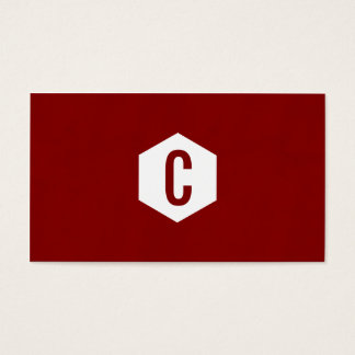 Minimal red hexagon monogramed business cards