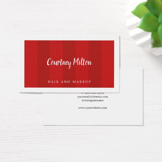 Minimal Red Stripes White Beauty Hair Makeup Business Card