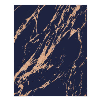 Minimal Rose Gold Blush Blue Navy Abstract Strokes Perfect Poster