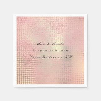 Minimal Rose Gold Blush Pink Metallic Custom Name Paper Napkin