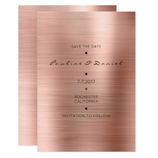 Minimal Save The Date Pink Rose Gold Cooper Card