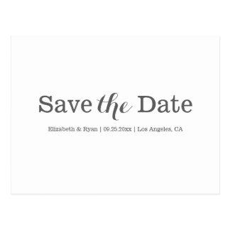 Minimal save the date postcard