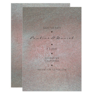 Minimal Save The Date White Gray Cement Pink Card