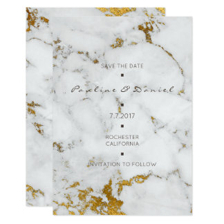 Minimal Save The Date White Gray Marble Gold Card