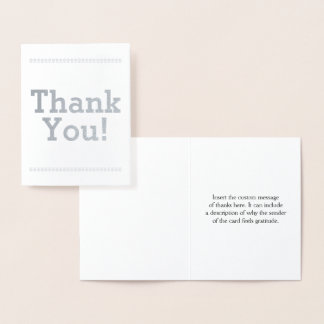 "Minimal Silver Foil ""Thank You!"" Card"