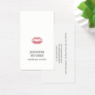 Minimal Simple Elegant Pale Pink Lips Makeup Business Card
