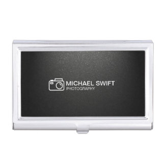 Minimal Simple Matte Black Photography Camera Business Card Holder