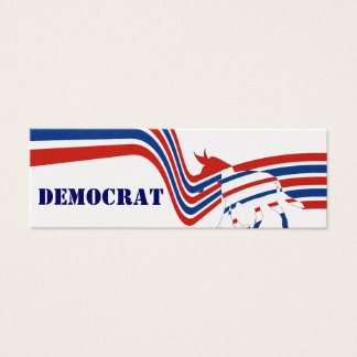 Minimal Simple Red White Blue Stripe Star Democrat Mini Business Card