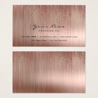 Minimal Steel Copper Pink Gold Matrix Rain Rose Go Business Card
