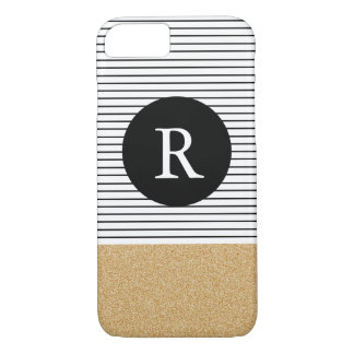 Minimal Stripes - FAUX glitter gold Monogram iPhone 8/7 Case