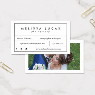 Minimal Stylish White Photography Business Cards