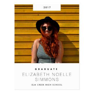 Minimal Trend Modern Graduation Photo Postcard