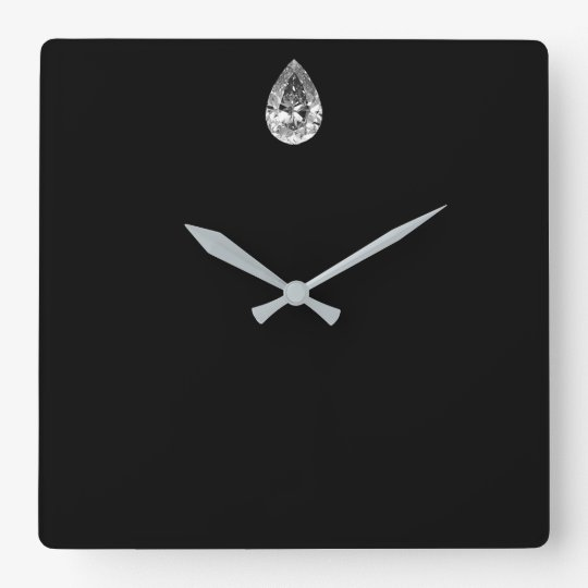 Minimal Vip Black Silver Diamond Graphite Metallic Square Wall Clock