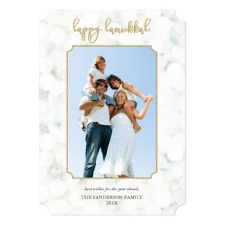 Minimal White and Gold Happy Hanukkah Photo Card