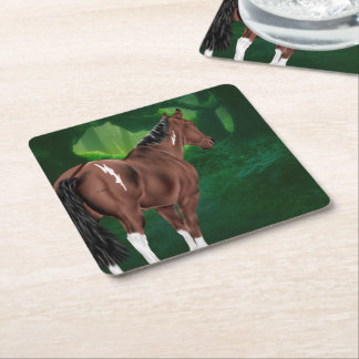 Minimal White Bay Tobiano Paint Horse Square Paper Coaster
